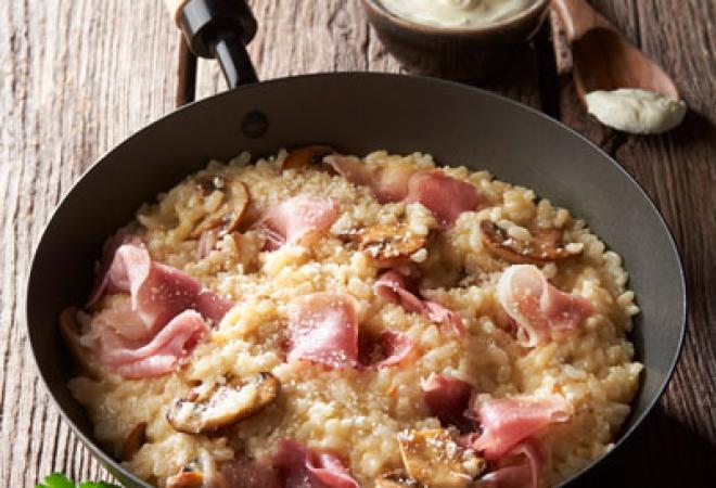 Risotto crémeux jambon sec & champignons