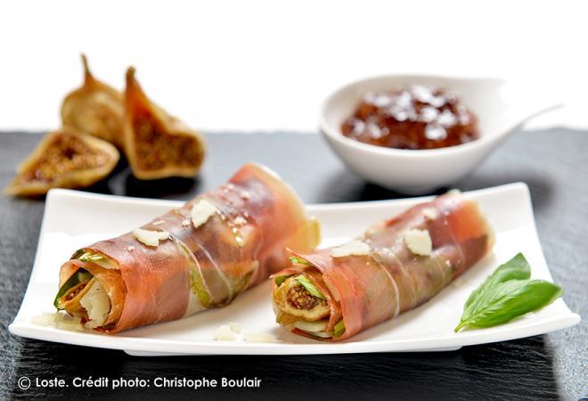 Rouleaux de jambon sec, figue et parmesan | Recette de cuisine Maison Loste